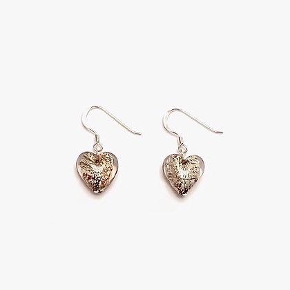 Venetian Glass Silver Foil Topaz Heart Earrings