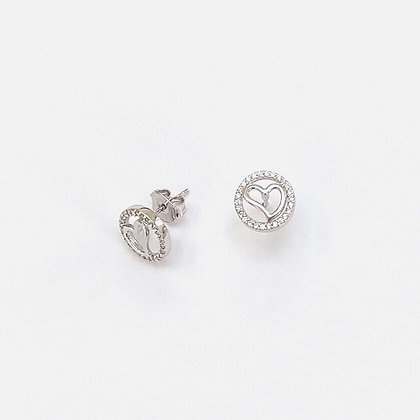 Sterling Silver Cubic Zirconia Inset Heart Studs