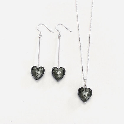 Venetian Glass Silver Foil Charcoal Heart Set