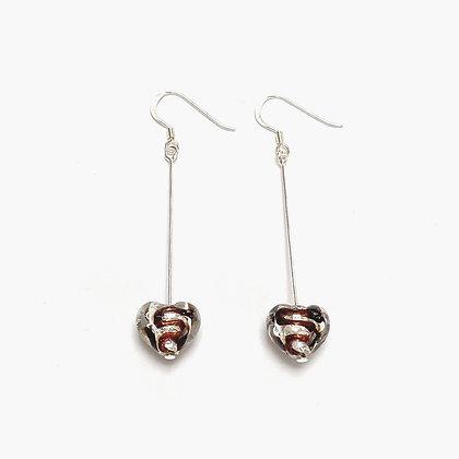 Venetian Glass Silver Foil Brown Stripe Long Earrings