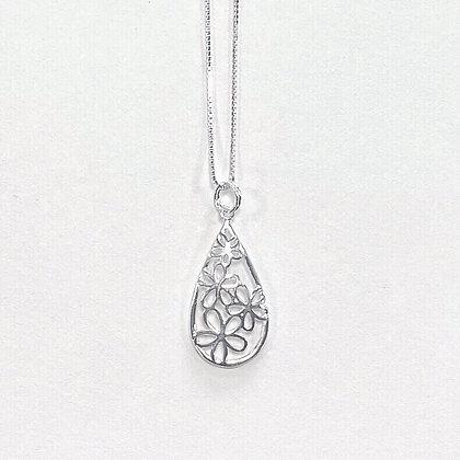 Sterling Silver Encased Flower Teardrop Pendant