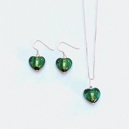 Venetian Glass Green Heart Set
