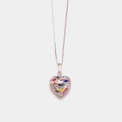 Venetian Glass Multi Copper Swirl Heart Pendant