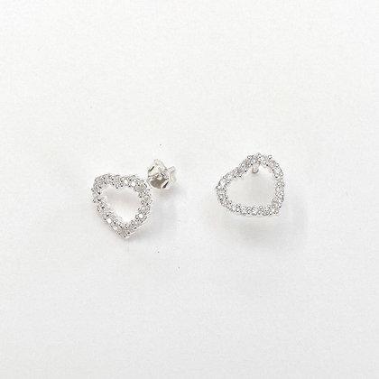 Sterling Silver Cubic Zirconia Open Hearts