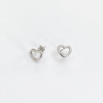 Sterling Silver Open Heart Studs