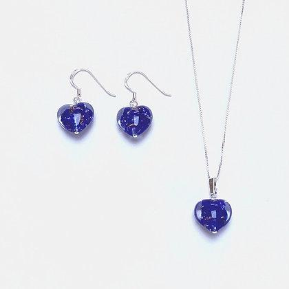 Venetian Glass Blue Copper Swirl Heart Set