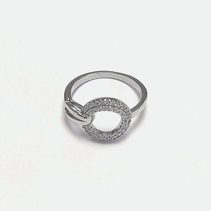 Sterling Silver Cubic Zirconia Double Hoop Ring
