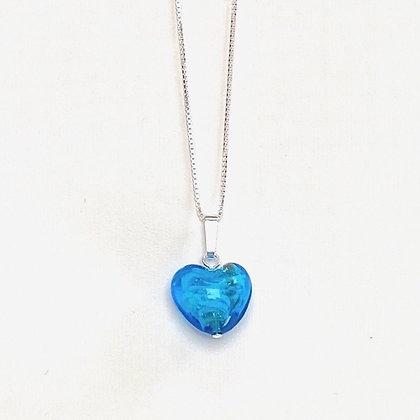 Venetian Glass Aqua Copper Swirl Heart Pendant
