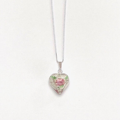 Venetian Glass Silver Foil Rose Heart Pendant