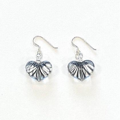 Clear Black Stripe Puffy Glass Heart Earrings