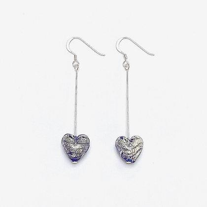 Venetian Glass Silver Foil Sapphire Heart Long Earrings