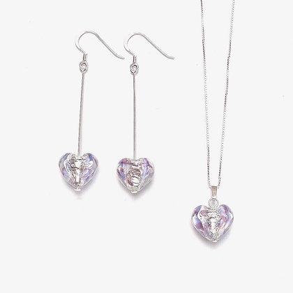 Venetian Glass Silver Foil Lilac Heart Set