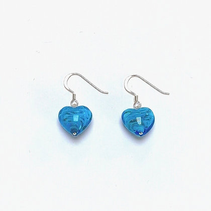 Venetian Glass Aqua Copper Swirl Heart Earrings