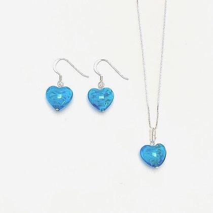 Venetian Glass Aqua Copper Swirl Heart Set