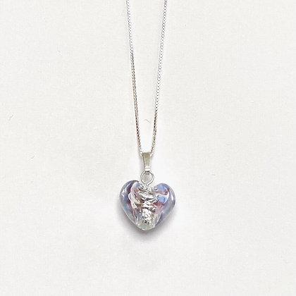 Venetian Glass Silver Foil Lilac Heart Pendant