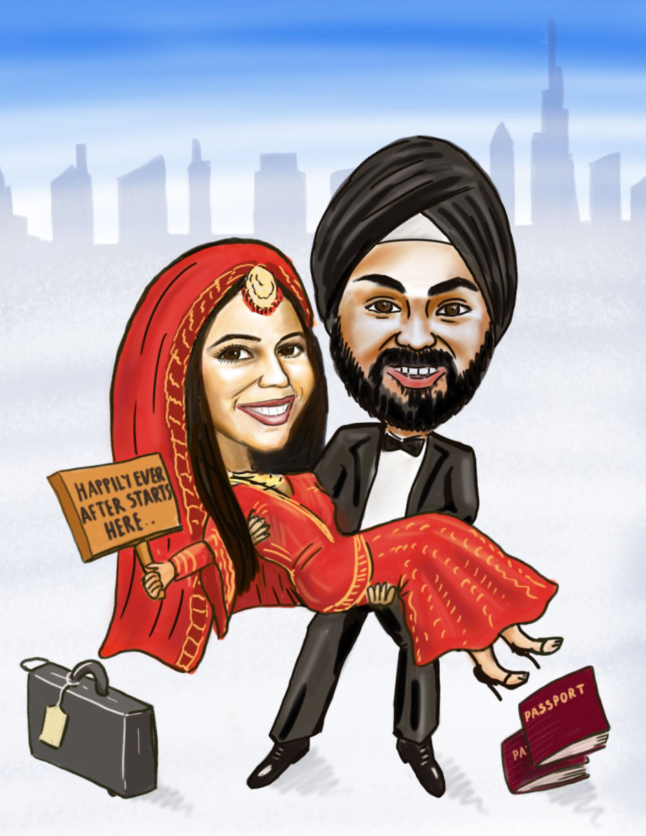 Digital caricature Indian wedding
