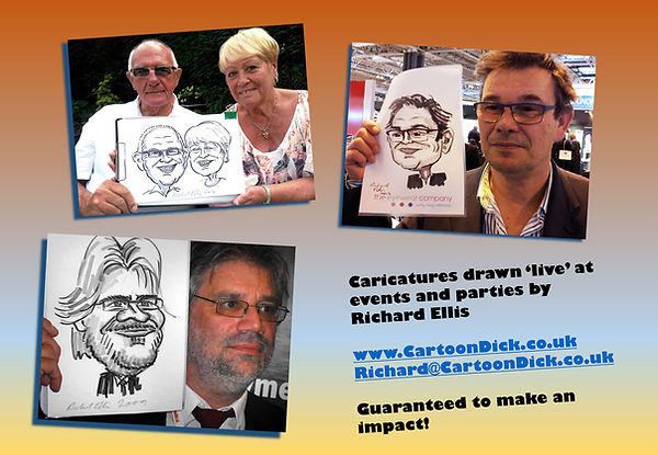 Caricatures and cartoons by Richard Ellis for wedding, corporate and party entertainment