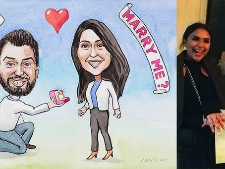 Wedding proposal caricature