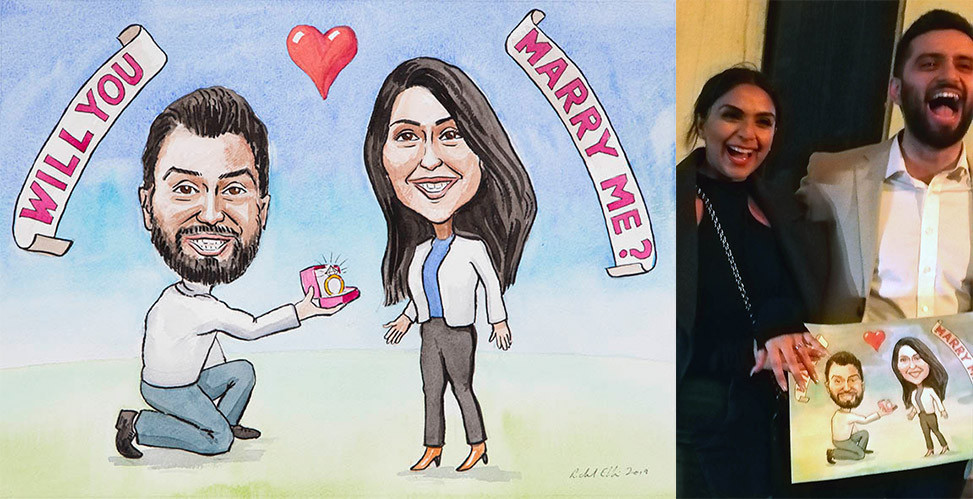 Caricature picture commission as part of a marriage proposal.