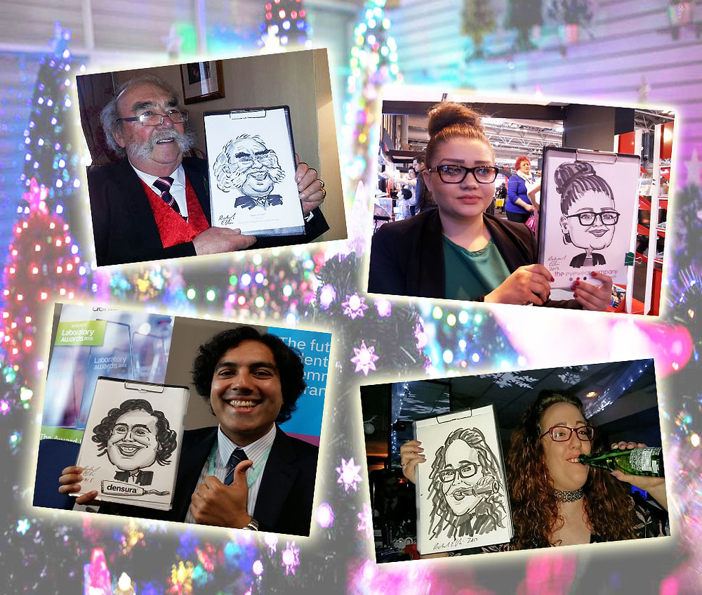 xmas entertainment with caricature sketches. Birmingham, Midlands, England, Wales