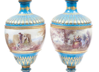 BLEU CELESTE SEVRES VASES SHIMMER AT SELKIRK'S AUCTION