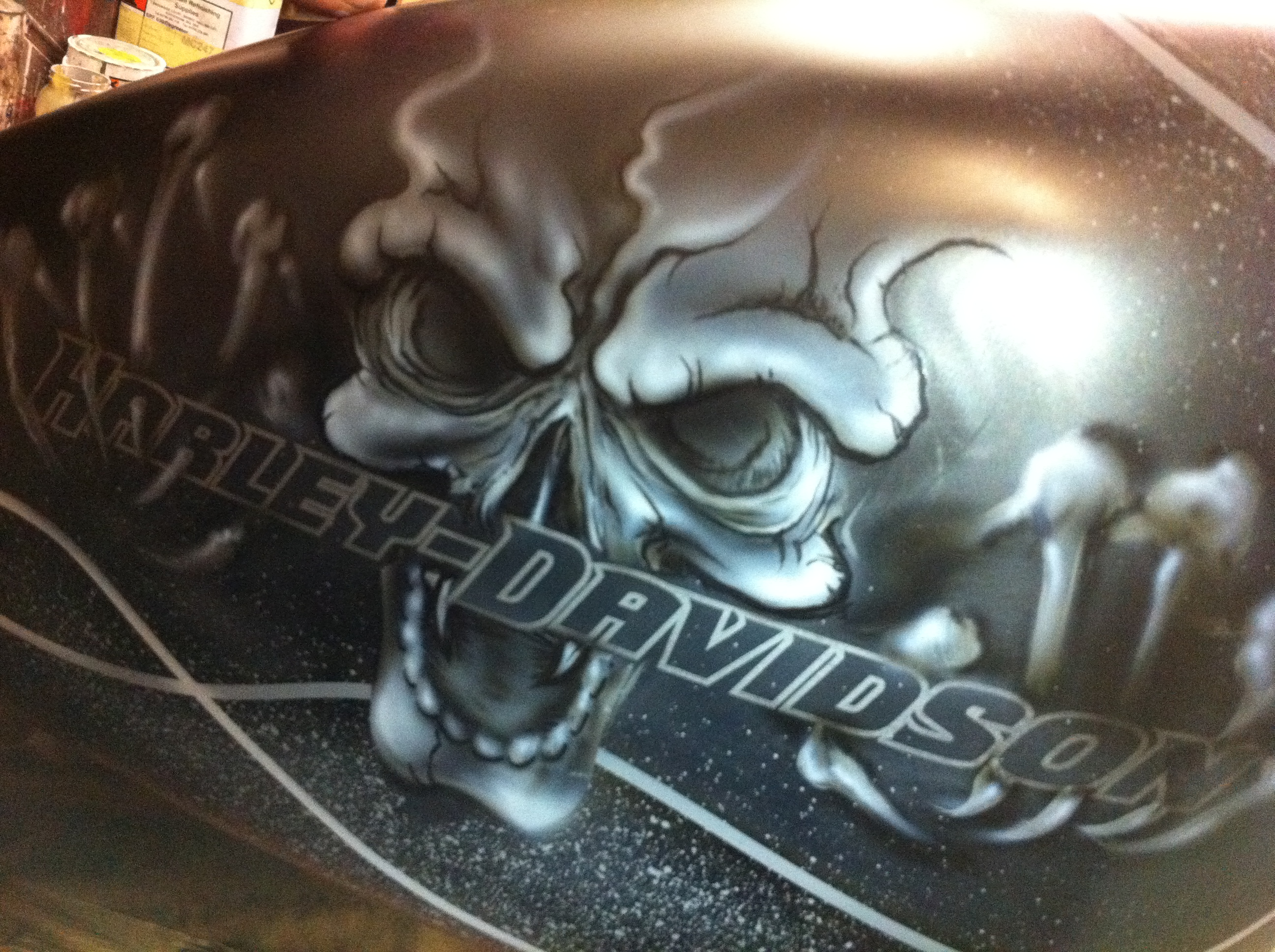Skull harley davidson Scott Airbrush