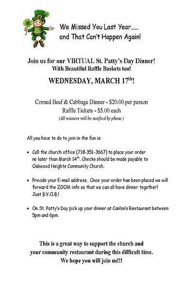 ST PATTY'S DAY FLYER    VIRTUAL DINNER