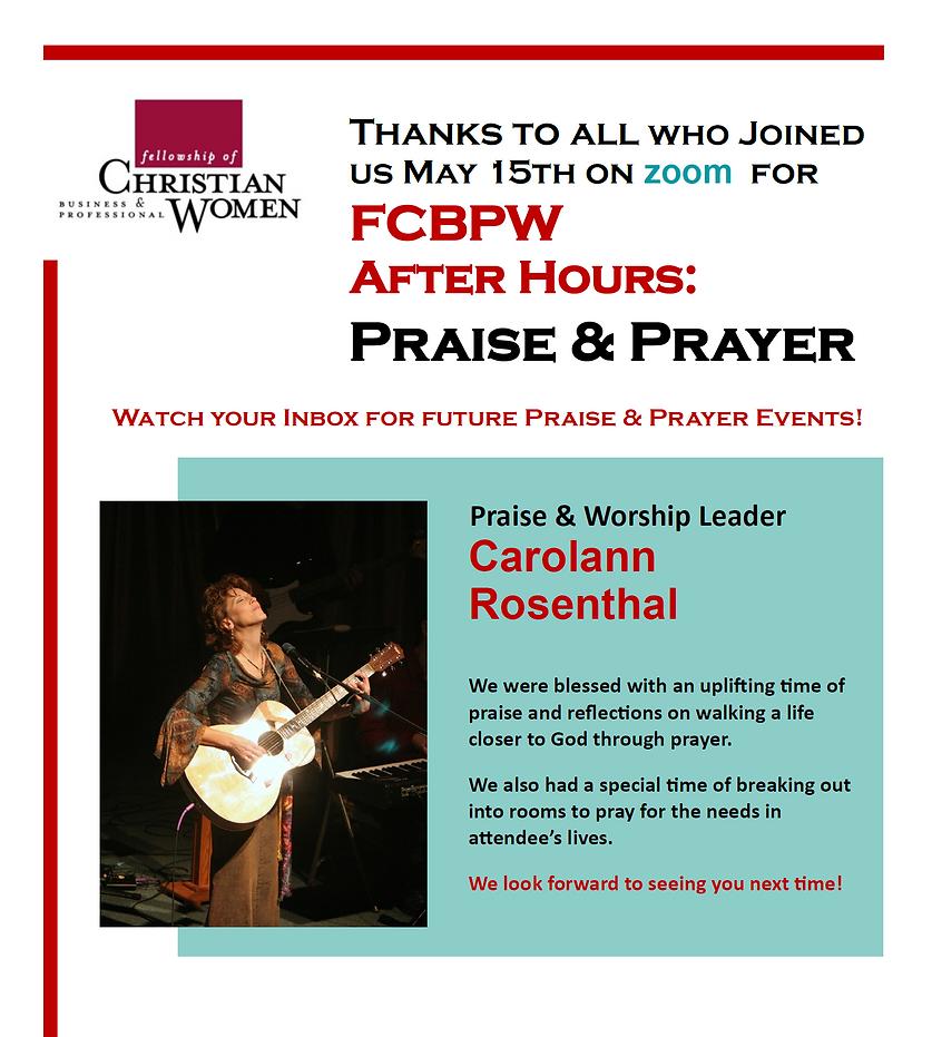 FCBPW Thanks for Joining Praise & Prayer