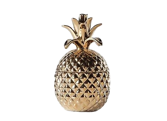 Ceramic Pineapple Canister | Gold