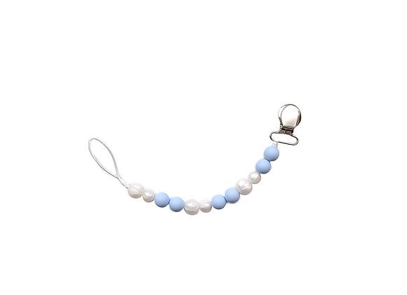 Silicone Pacifier Clip | Blue + Pearl