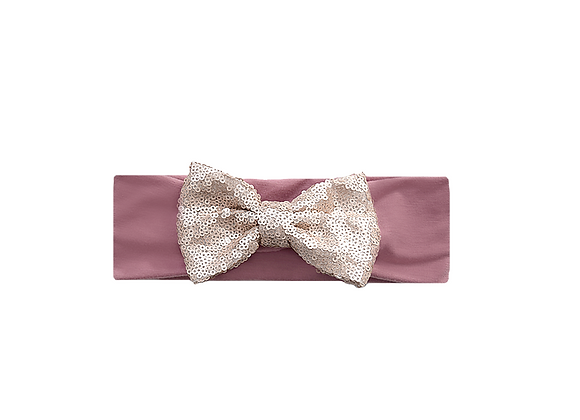 Sequins Bow Headband | Champagne Mauve