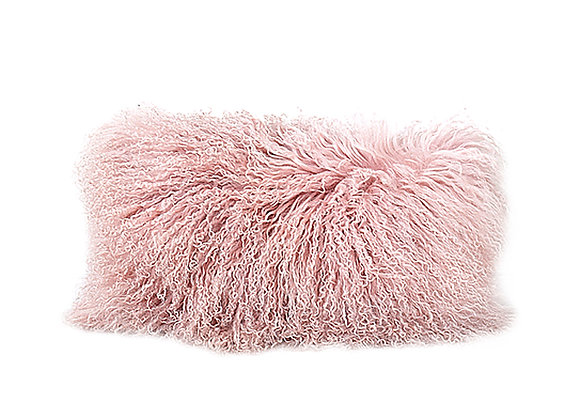 Mongolian Fur Pillow | Dusty Rose