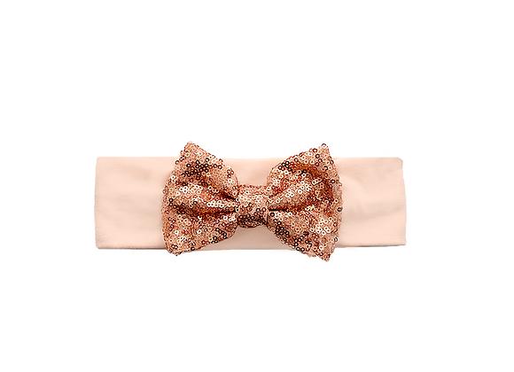 Sequins Bow Headband | Copper Coral