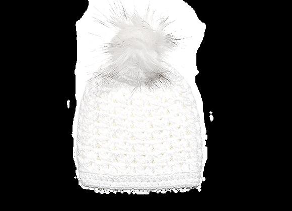 Crochet Pom Beanie | White