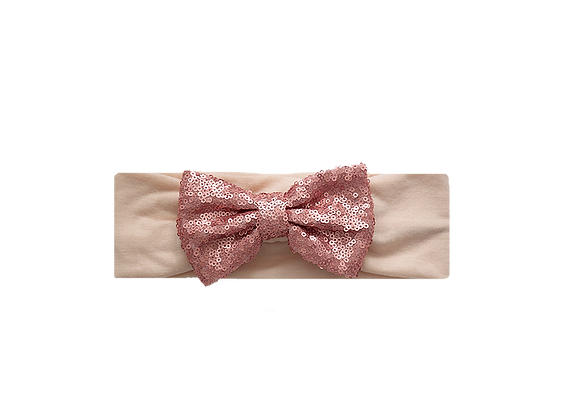 Sequins Bow Headband | Antique Rose Coral