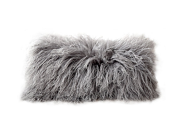 Mongolian Fur Pillow | Dark Grey