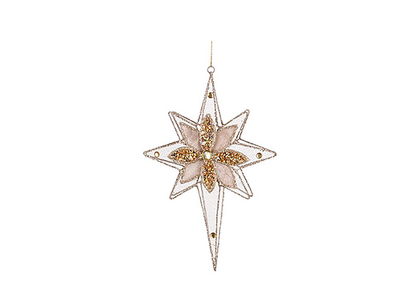 Sheer Wire Snow Flake Ornament | Champagne