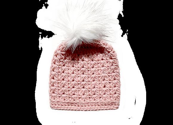 Crochet Pom Beanie | Pink