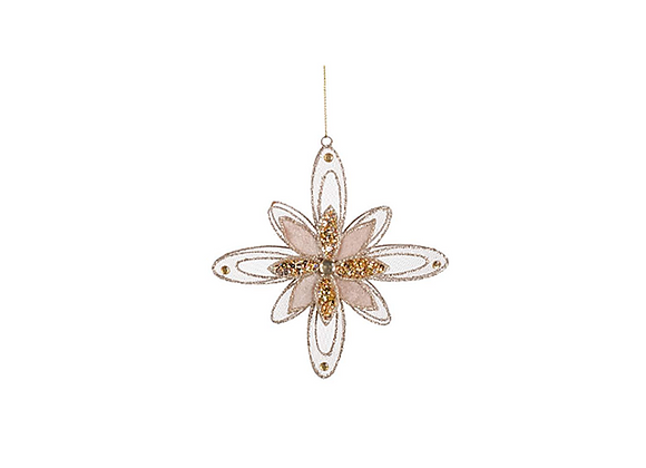 Sheer Wire Flower Ornament | Champagne