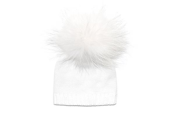 Knitted Pom Beanie | White