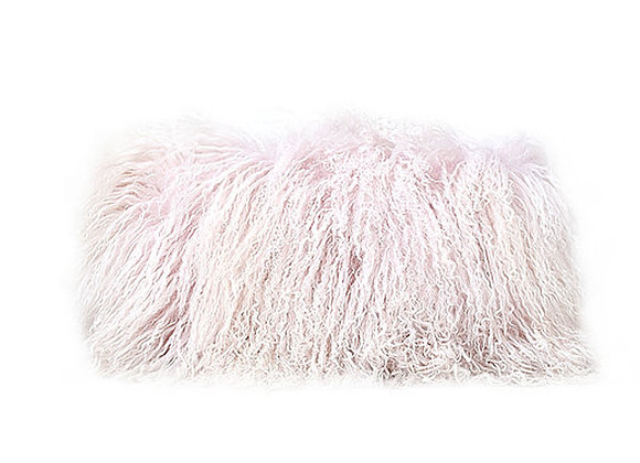 Mongolian Fur Pillow | Light White Pink