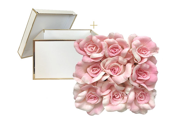 [DELUXE] Everlasting Rose Box | Square White + Gold Box