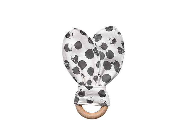 Crinkle Bunny Ear Teething Ring | Large Dot