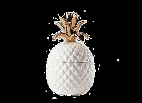 Ceramic Pineapple Canister   White + Gold