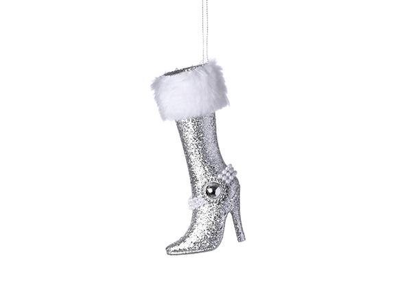 Glitz High Heel Boot Ornament   Silver