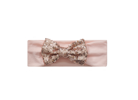 Sequins Bow Headband | Rose Gold Blush