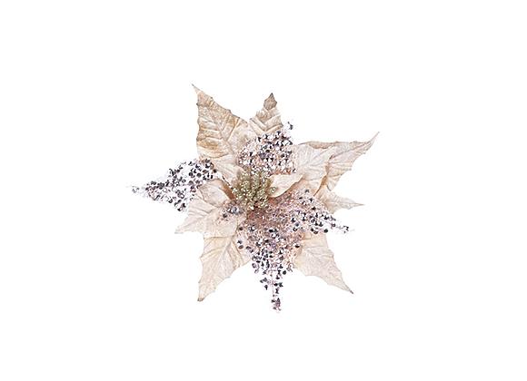 Glitter Poinsettia Clip Ornament | Ivory + Rose
