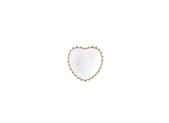 Small Heart Shaped Dish | White + Gold