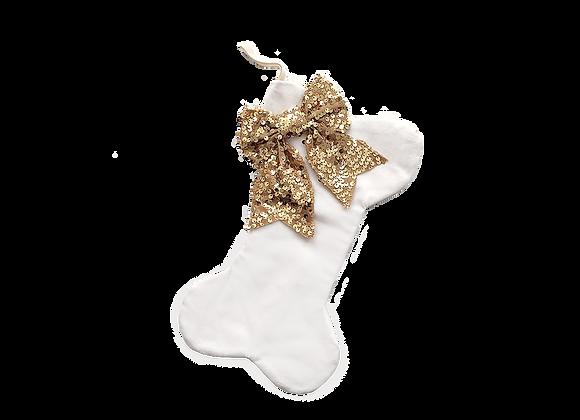 Velour Dog Bone Stocking   White + Gold