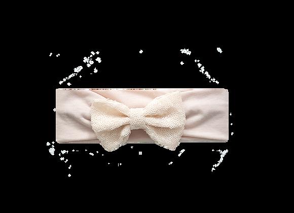 Sequins Bow Headband   Nude Linen
